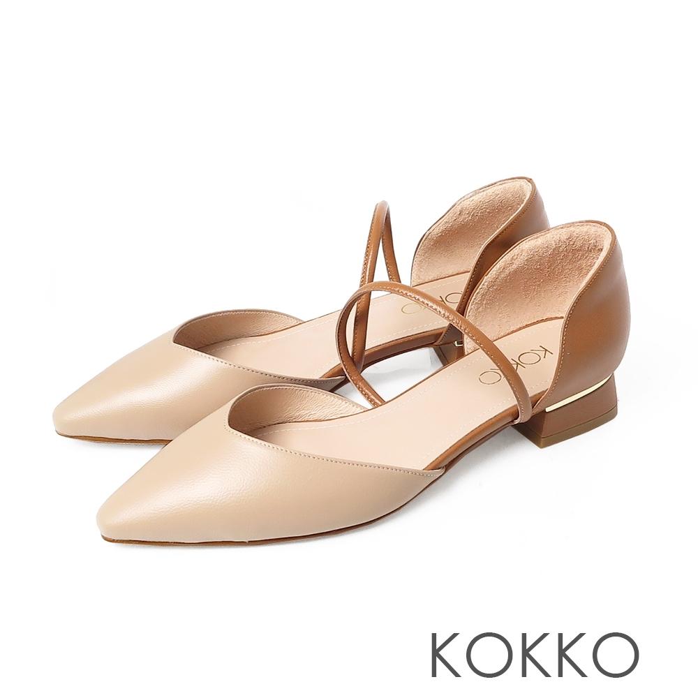 KOKKO小方頭質感牛皮兩截中空粗跟鞋奶茶色