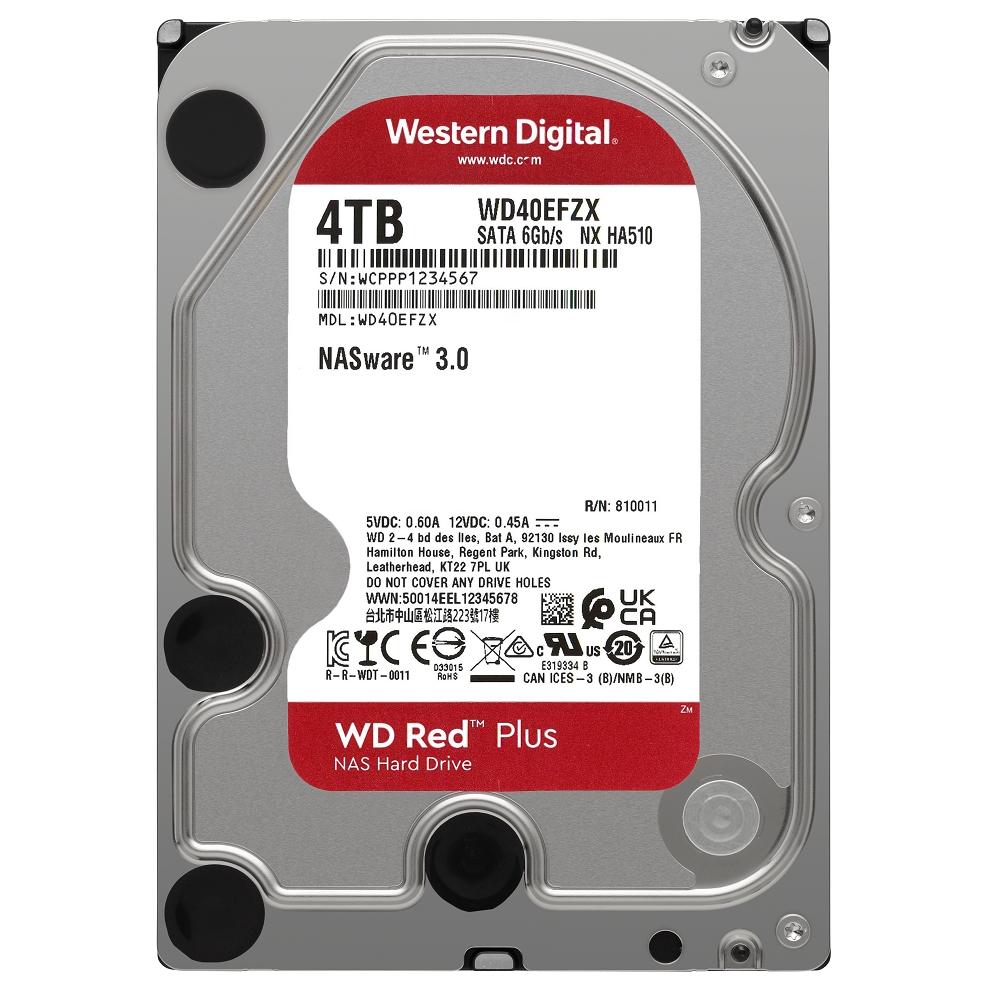 WD 紅標 Plus 4TB NAS專用3.5吋SATA硬碟(WD40EFZX)