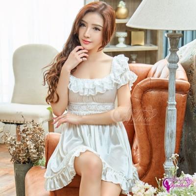 Sexy Cynthia 性感睡衣 優雅甜美白色柔緞公主袖性感睡衣-白F
