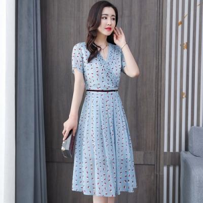 清爽水藍圓點打褶領顯瘦傘襬洋裝M-3XL-REKO