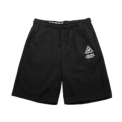【ZEPRO】男子LOGO抽繩休閒短棉褲-活性黑