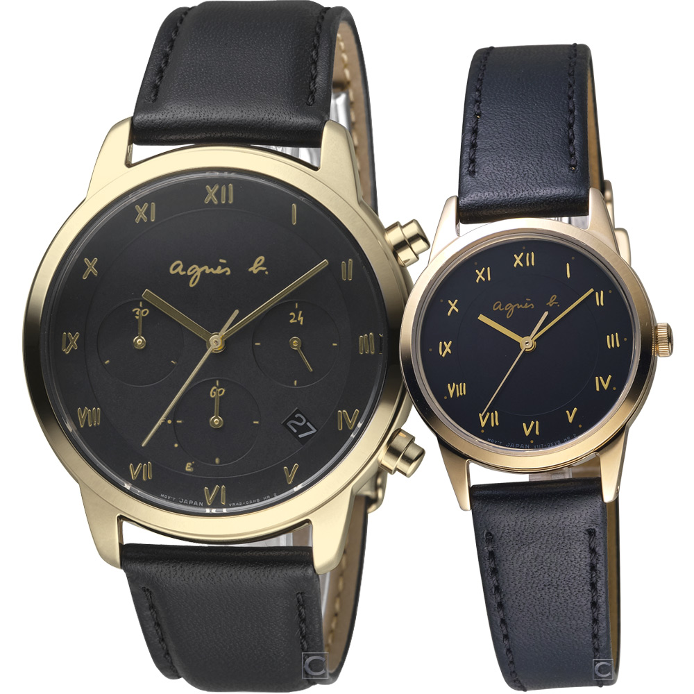 agnes b. 巴黎情緣時尚對錶 (BZ5002P1+BU9031P1)