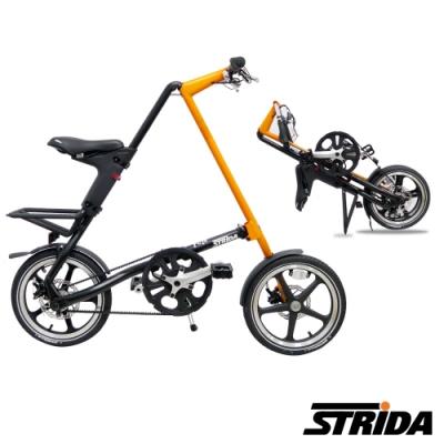 英國 STRiDA速立達 LT特仕版16吋單速碟剎/皮帶傳動/折疊後可推行/三角形單車-黑橘