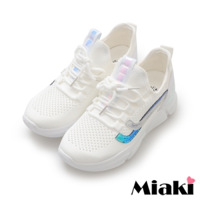 Miaki-休閒鞋飛織透氣反光厚底運動鞋-白
