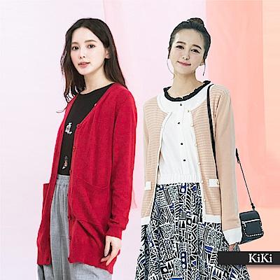 【KiKi】上班族必備百搭-針織衫(A撞色款/B素色款/C橫條紋款/D流蘇款)