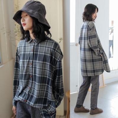 襯衫-起絨棉復古格子長袖上衣-設計所在