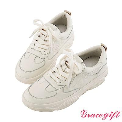 Grace gift-真皮復古厚底休閒鞋 米白
