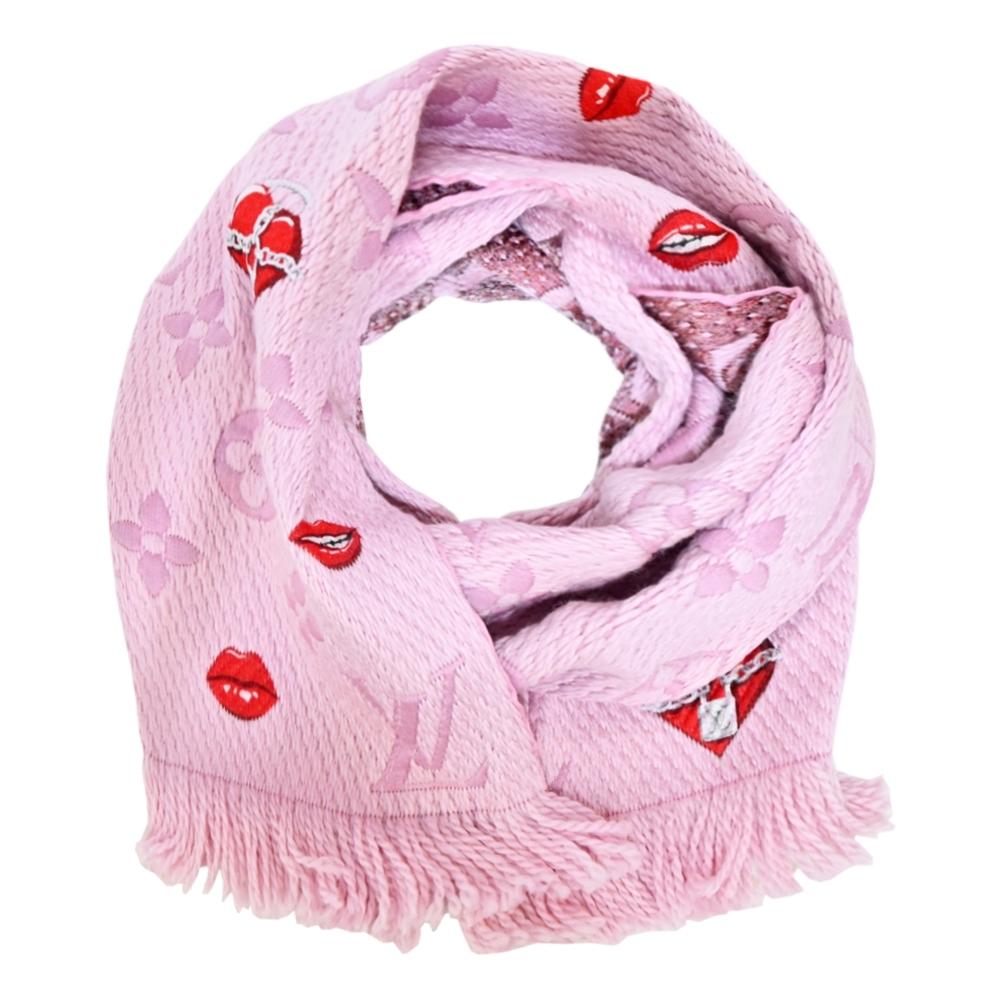Louis Vuitton Logomania Lucky Monogram 心型紅唇羊毛圍巾(芭蕾粉)