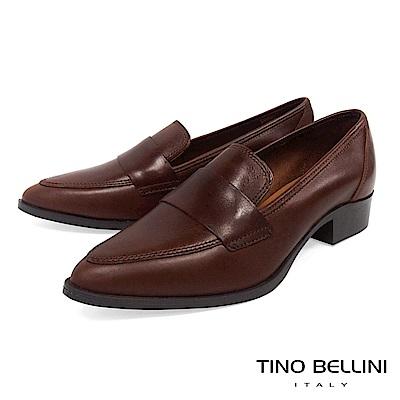 Tino Bellini 義大利進口簡約真皮尖楦低跟樂福鞋 _ 深咖