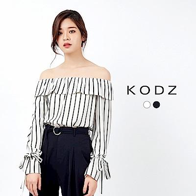 東京著衣-KODZ 袖口綁帶直線條設計一字領上衣-S.M.L(共二色)