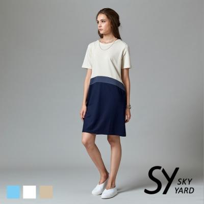【SKY YARD 天空花園】異色拼接短袖洋裝-卡其