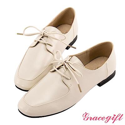 Grace gift-微方頭紳士牛津鞋 米白
