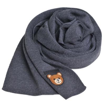 MOSCHINO 義大利製羊毛小熊TOY圖騰字母LOGO刺繡皮標圍巾(深鐵灰色)