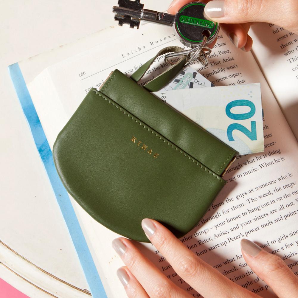 KINAZ 真皮彈簧萬用鑰匙零錢包-芥藍綠元素-小物魔法系列