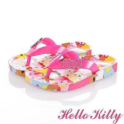 HelloKitty 好朋友系列 蝴蝶結舒適休閒夾腳拖鞋童鞋-桃