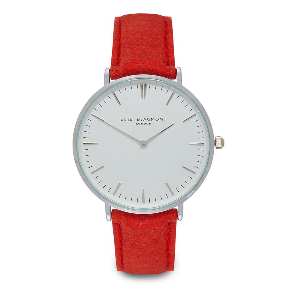 Elie Beaumont 英國手錶 牛津系列 白錶盤x亮紅色環保皮革錶帶x銀框38mm