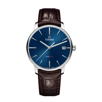 TITONI瑞士梅花錶 LINE1919 百周年系列錶款 T10 超薄自製機芯 (83919 S-ST-612)-藍面皮帶/40mm