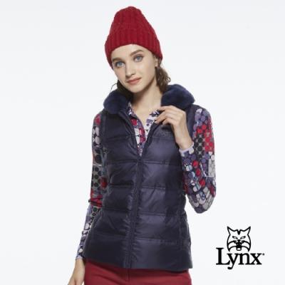 【Lynx Golf】女款領口毛條設計Lynx飾片隱形拉鍊款無袖背心-深藍色