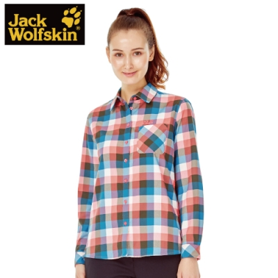 【Jack wolfskin 飛狼】女 格紋寬版長袖襯衫『藍橘格紋』