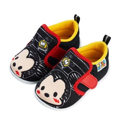 迪士尼童鞋 TsumTsum 塗鴉風寶寶學步鞋-黑