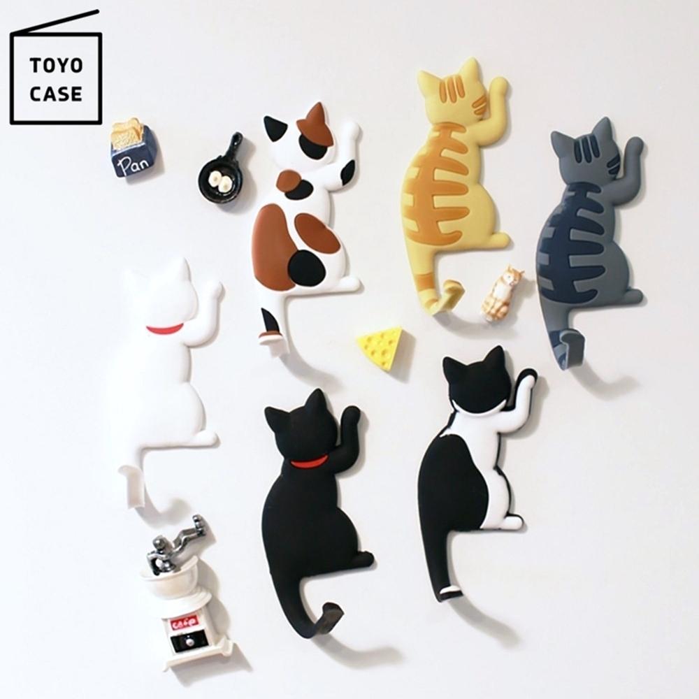 日本TOYO CASE貓咪造型磁吸式掛勾 MH-CAT 貓咪尾巴鑰匙掛勾