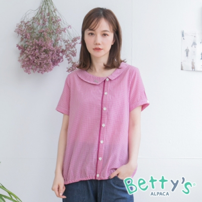 betty's貝蒂思 日系格紋圓弧領襯衫(桃紅)