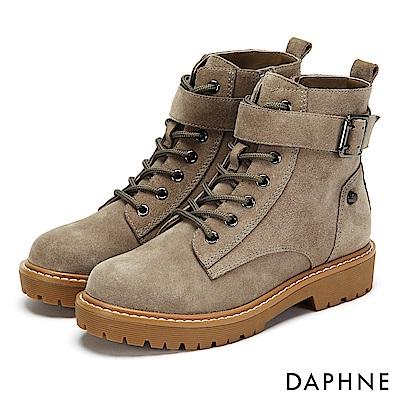 達芙妮DAPHNE 短靴-質感牛皮金屬釦帶綁帶厚底靴-駝