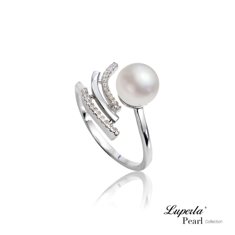 大東山珠寶 純銀晶鑽天然珍珠戒指  燦爛流星雨