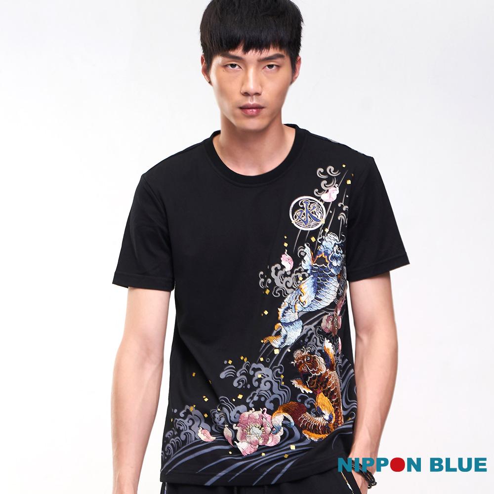 日本藍 BLUE WAY 【進口金標】鬥鯉短TEE(黑)
