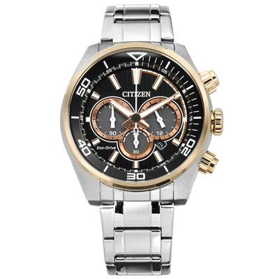 CITIZEN 星辰表 光動能三眼計時防水日本機芯不鏽鋼手錶-黑x香檳金框/45mm