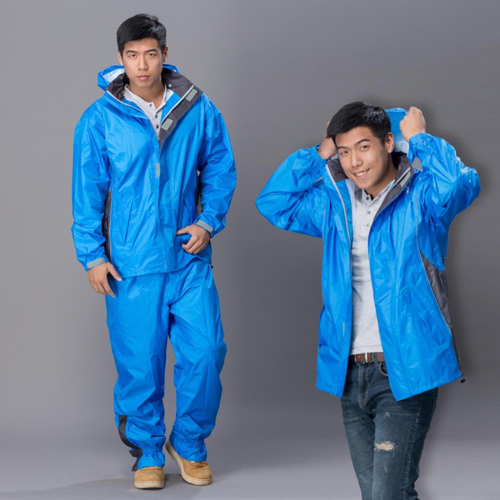 【東伸 DongShen】都會騎士輕量型二件式雨衣-藍色