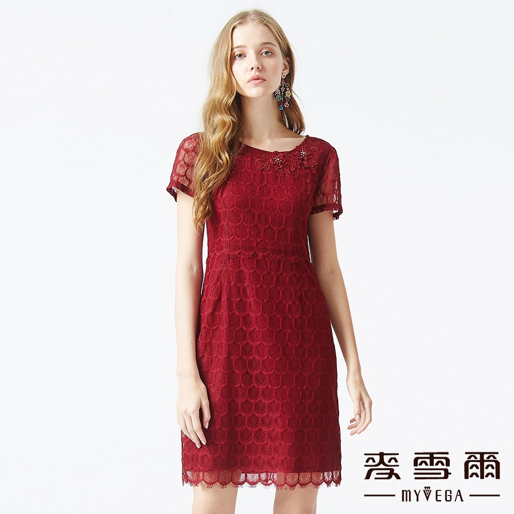 MYVEGA麥雪爾 睫毛蕾絲立體花朵長洋裝-暗紅