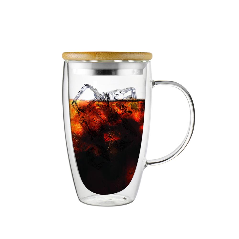 FUSHIMA富島 經典系列雙層耐熱玻璃杯460ML-把手(附鋼心竹蓋)