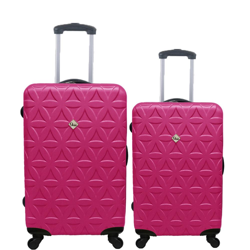 Gate9花花系列/二件組28吋+20吋/ABS霧面輕硬殼旅行箱/行李箱-桃紅色