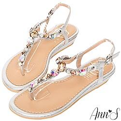 Ann'S水之戀-漸層彩色寶石小坡跟夾腳涼鞋-銀