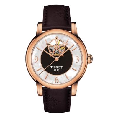 TISSOT Lady Heart 花朵鏤空機械腕錶-珍珠貝x玫瑰金框/35mm T0502073711704