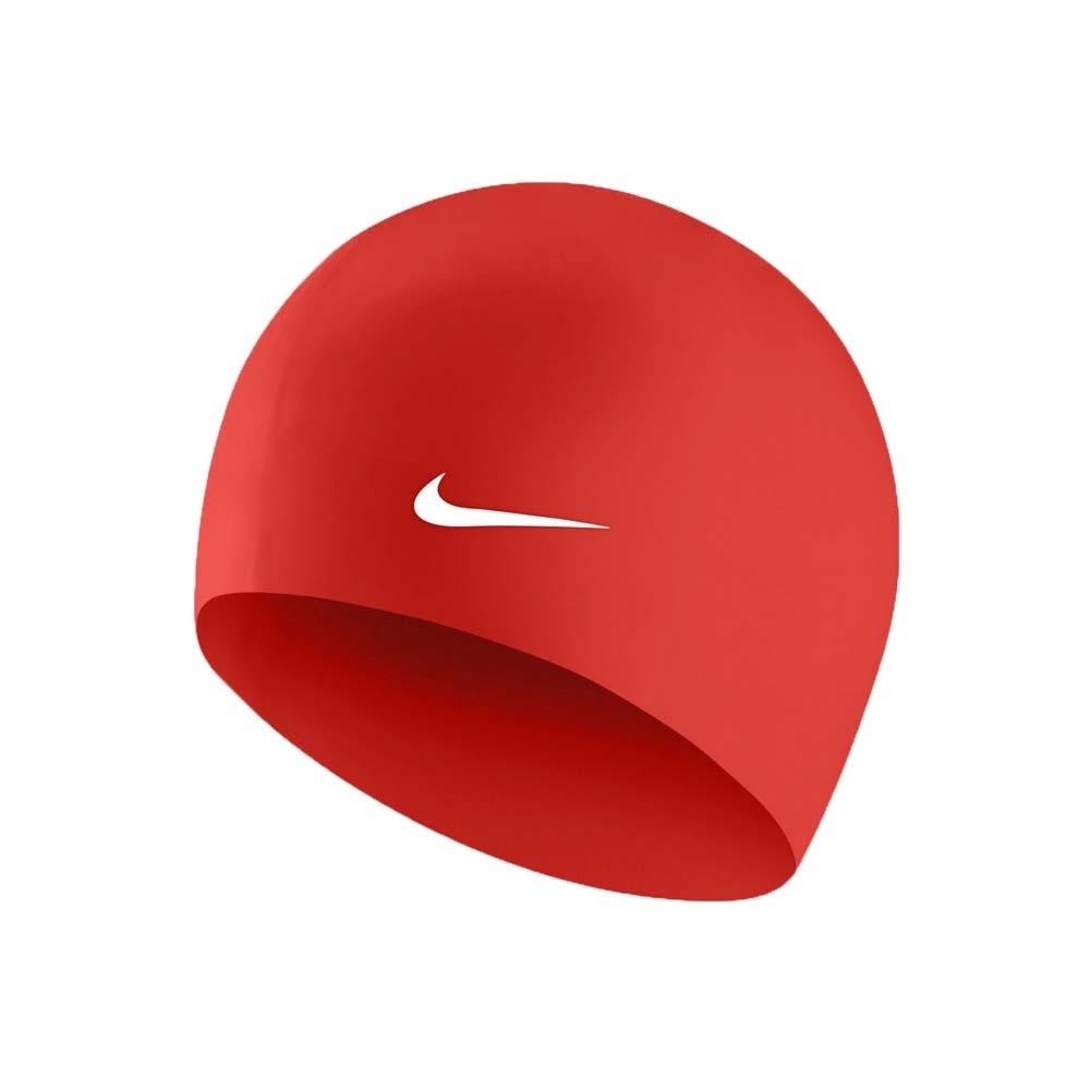 NIKE SWIM 成人矽膠泳帽-游泳 戲水 海邊 沙灘 93060-614 橘紅白