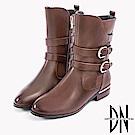 DN 潮流時尚 真皮金屬拉鍊皮帶中筒靴-咖