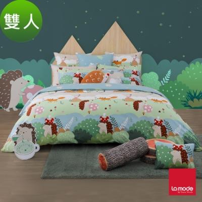 (活動)La Mode寢飾 魔力小森林環保印染100%精梳棉兩用被床包組(雙人)