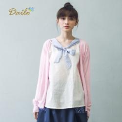 【Dailo】雙色V領-針織衫(三色)