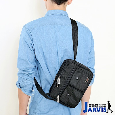Jarvis賈維斯 側背包 休閒公事包-黑仕II-8811-2
