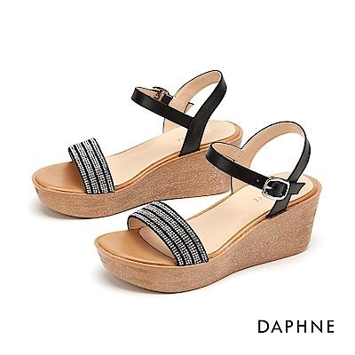 達芙妮DAPHNE 涼鞋-細緻閃亮水鑽一字厚底楔型涼鞋-黑色