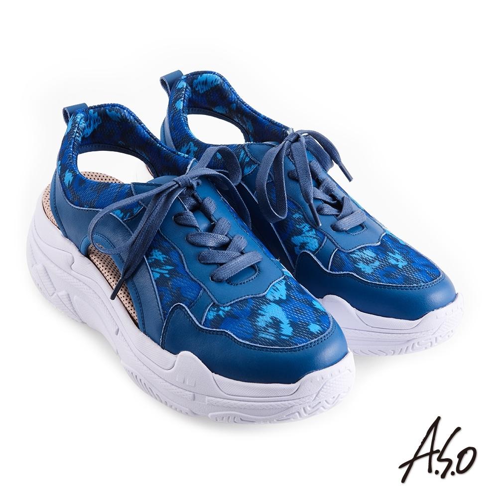 A.S.O 機能休閒 輕量抗震包腳床牛皮/布料綁帶休閒鞋-藍
