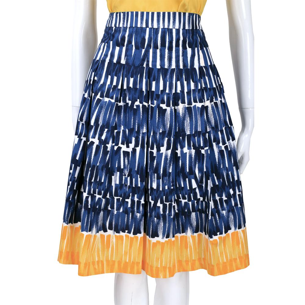 Max Mara-WEEKEND 藍x白x黃色直條塗鴉設計及膝裙