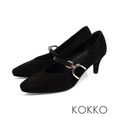 KOKKO - 優雅瑪莉珍羊麂皮V口D扣高跟鞋-霧黑色