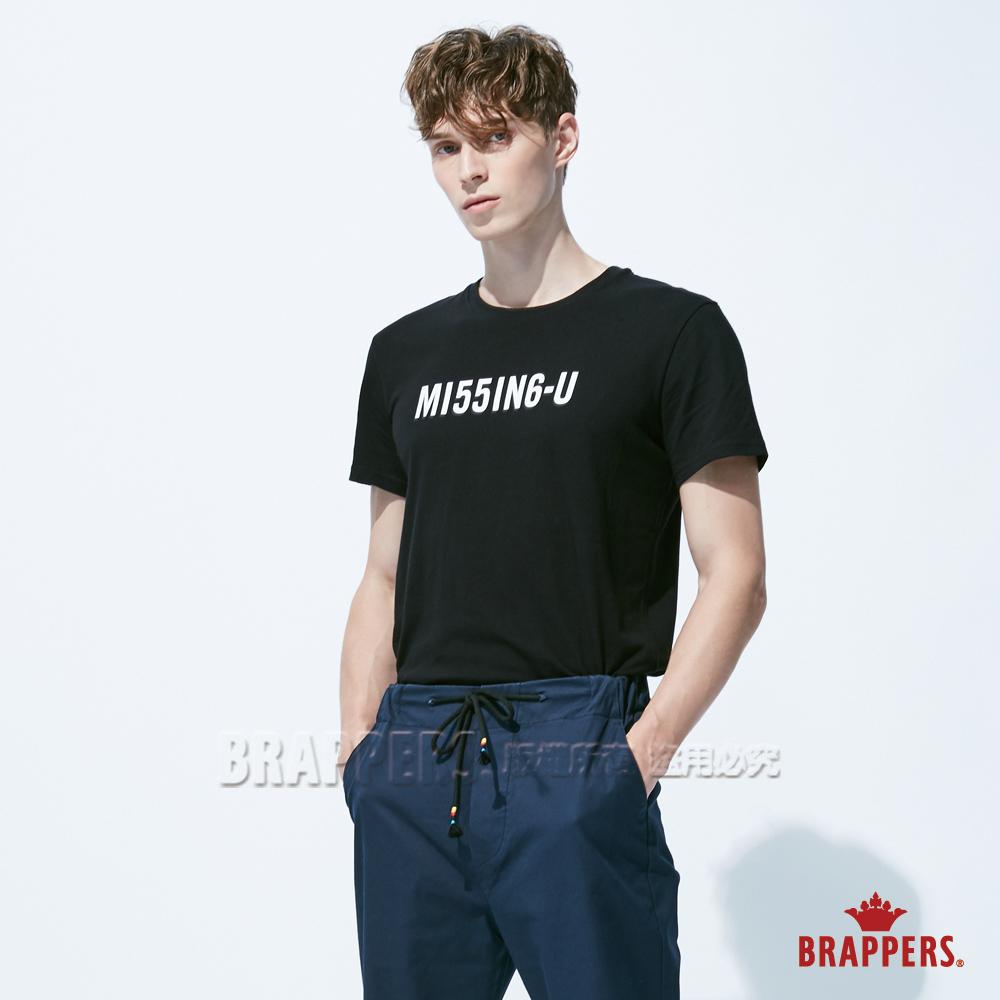 BRAPPERS 男款 MISSING-U印花基本短袖T恤-黑