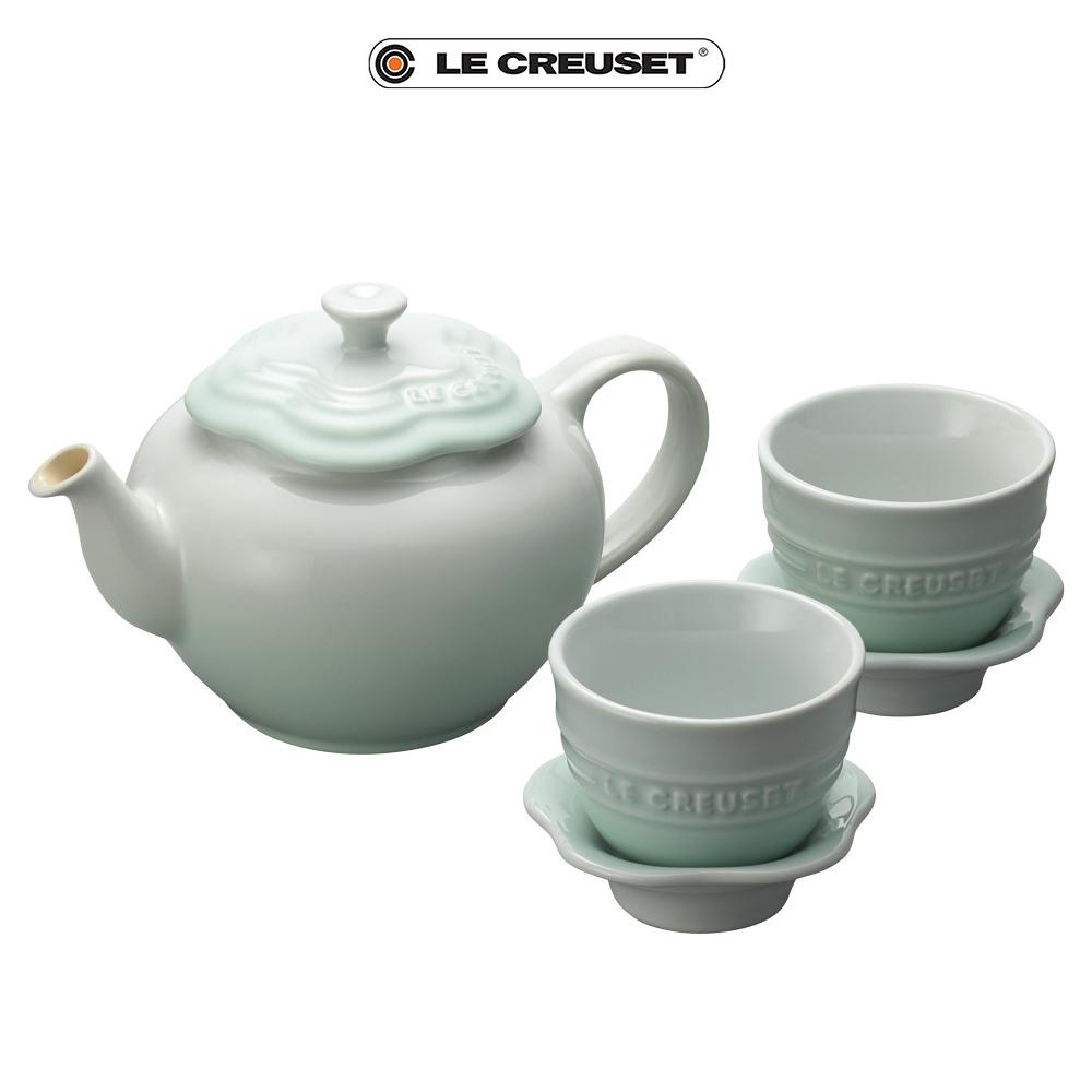 [滿5千再折1千] LE CREUSET瓷器花型茶具組(一壺二盞) (冰川綠)