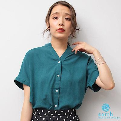 earth music 亞麻混紡2WAY設計短袖襯衫上衣