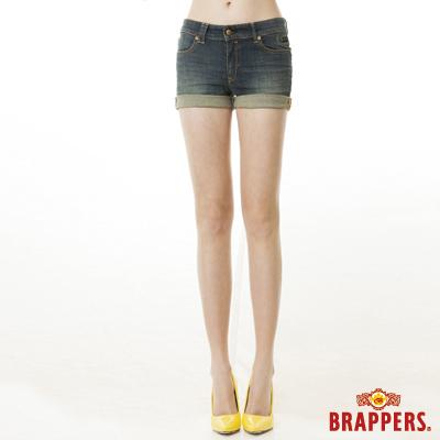 BRAPPERS 女款 BoyFriendJeans系列-女用彈性反摺短褲-藍