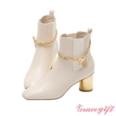Grace gift-美戰變身器鍊條中跟短靴 米白